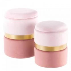 Set 2 Pouf Contenitore rosa